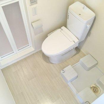 浴室を出たところに洗濯機置き場とトイレが。