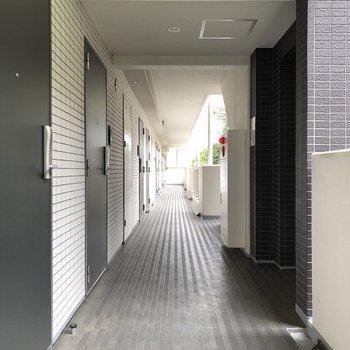 たっぷり日差しが差し込む廊下です