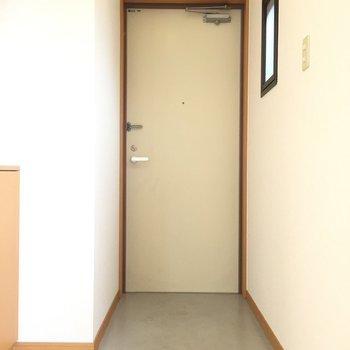 玄関。画面には写ってませんがカーテンで仕切ることもできます。※写真は5階の同間取り別部屋のものです