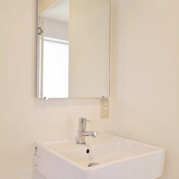 洗面台はシンプル。 ※写真は同間取り別部屋