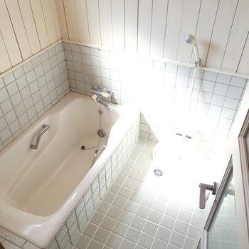 お風呂もちょっとレトロですが、広さ、日当たりは申し分ない。