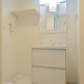 洗面台は引き出しタイプの収納。使いやすいんですこれ