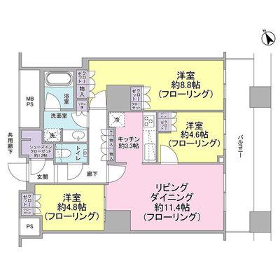 ザ・パークハウス西新宿タワー60の間取り