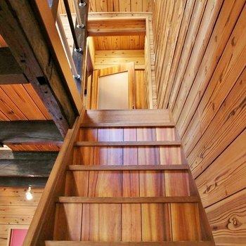 ウッド調の階段を上ります!わくわく※写真は前回掲載時のものです。