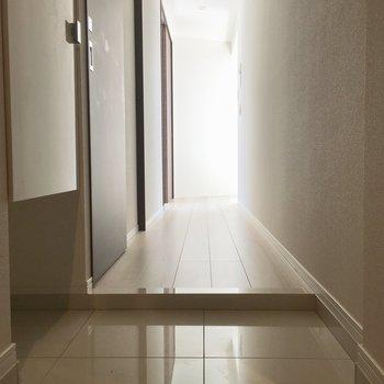 人工大理石調の高級タイルの玄関です。