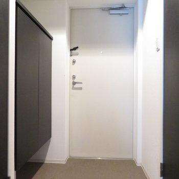 玄関はかなり広く(※写真は10階の反転間取り別部屋のものです)