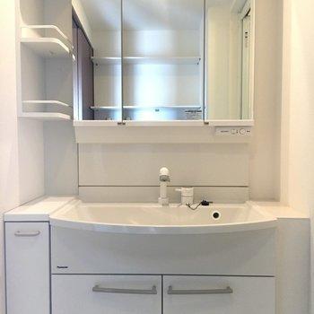 洗面台は脇にもしっかり棚が。