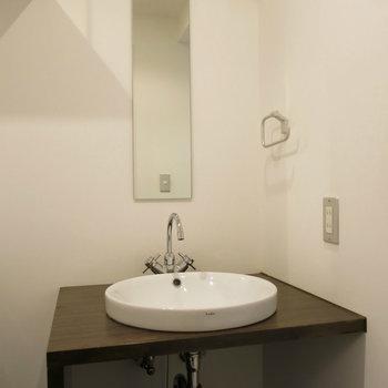 シャープな独立洗面台(※写真は3階の同間取り別部屋のものです)