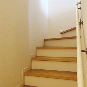 階段で下へ