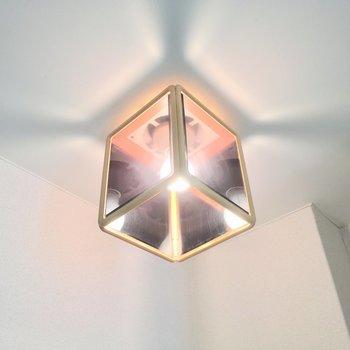 この照明・・・!内側2面が鏡張りだ!