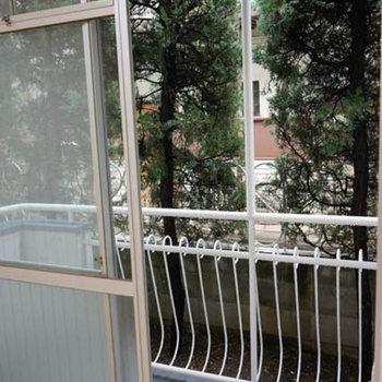 1階ですがベランダつき、ベランダ側も木が目隠ししてくれます。※写真は前回募集時のものです