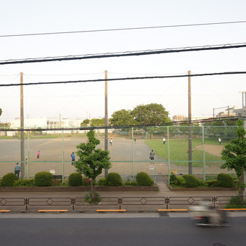 通りを挟んだ向こうは公園です