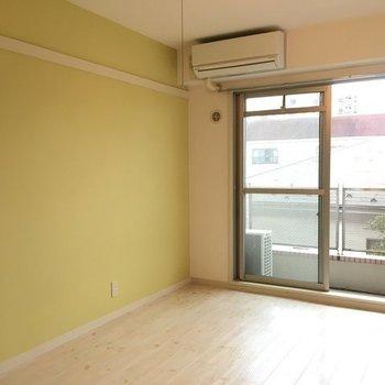 可愛らしい色合い。※写真は3階の同間取り別部屋です