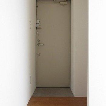 玄関はこんなかんじ。入ってすぐに洗濯機置場があります。※掲載写真は同間取り別部屋のものとなります。
