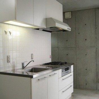 キッチンもかっこいい(写真は同じ建物の別部屋です。間取りは同じ。)