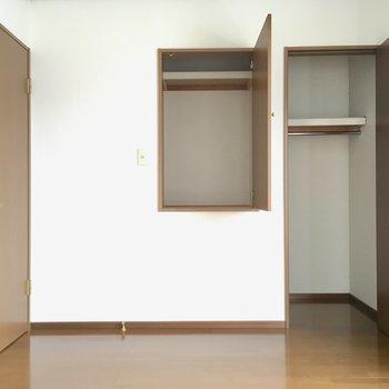 2つの収納は上手に使い分けてね。真ん中の棚はおもわずかくれんぼに使ってしまいそう・・・
