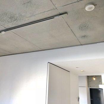照明はライティングレールに、壁際にはカーテンも設置可能