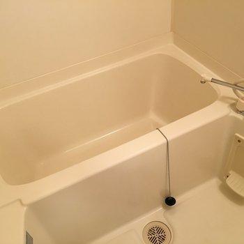 お風呂は普通のタイプ。(※写真は9階の反転間取り別部屋のものです)