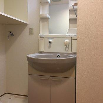 洗面台は丸いボウル型。(※写真は9階の反転間取り別部屋のものです)