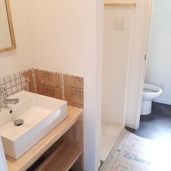 【工事中】新たに洗面台と脱衣所を