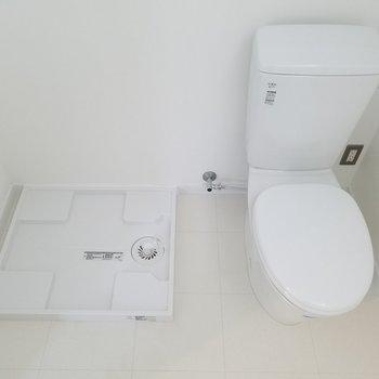 お手洗いの横に洗濯パン。ウォシュレットは付いていません。