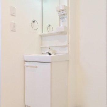 独立洗面台はトイレとバスルームの間に配置