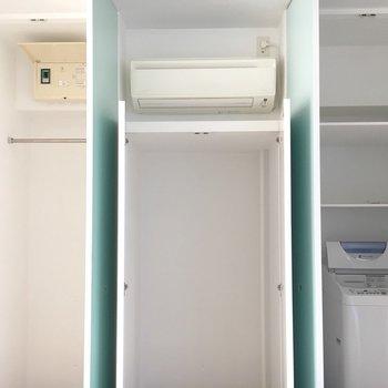たっぷりめの収納と洗濯機置き場も。