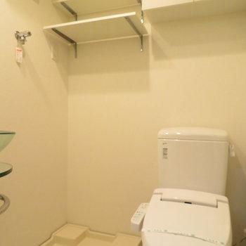 トイレと洗濯置き場の上には棚が