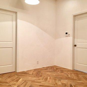 玄関のお隣、左のドアがトイレで、右がサニタリー。