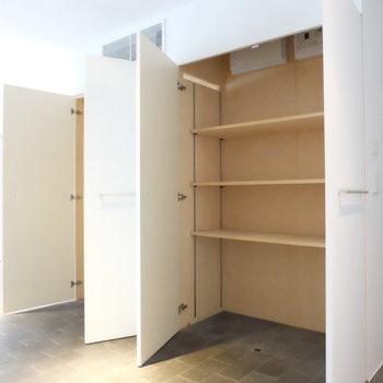 収納、棚タイプ。※写真は別部屋です。