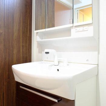 洗面台は鏡の奥も収納です。