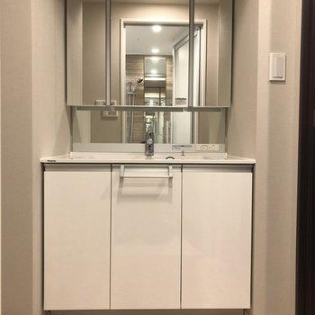 大きな3面鏡の独立洗面台。収納力も◎