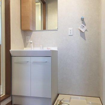 独立洗面台と洗濯機置場。左手には浴室、右手にはトイレ。