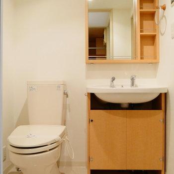 脱衣所に独立洗面台とトイレ。