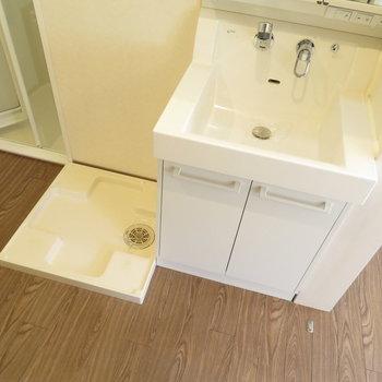 洗面脱衣所はキッチンの後ろにあります