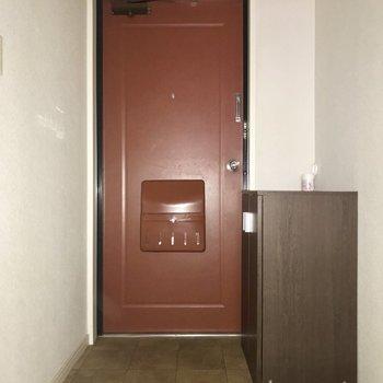 玄関扉がレトロで可愛い〜※通電前のためフラッシュをたいています。
