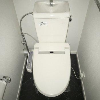 トイレはウォシュレット付き!※通電前のためフラッシュをたいています。