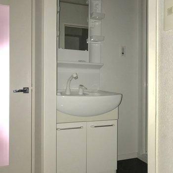 シンプルな洗面台。お隣にちょっとした収納ケースが置けそうです。※通電前のためフラッシュをたいています。