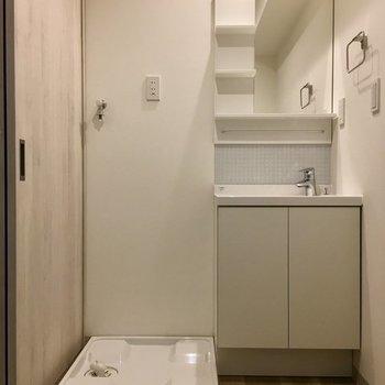 脱衣所もしっかり。※写真は同じ間取りの1階の別部屋になります。