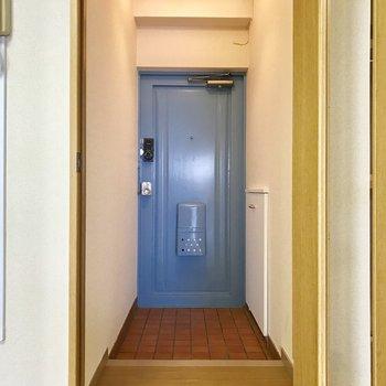 玄関扉はなんと青!