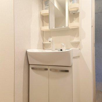 玄関から一番近い扉がサニタリールーム。清潔感のある洗面台。