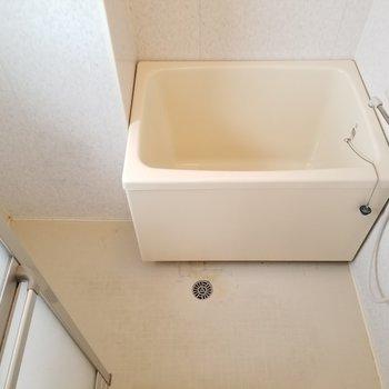 お風呂はレトロなコンパクトさがあります。※写真はクリーニング前です。