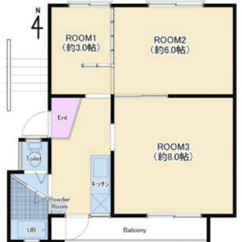お部屋たっぷり3Kのお部屋です