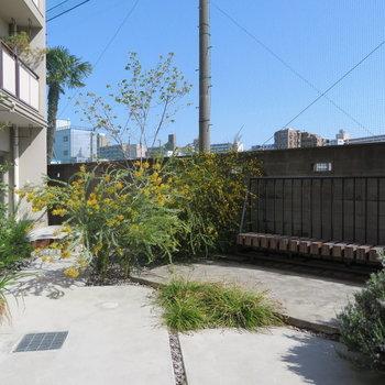 共有部には中庭とベンチが。プチシェアハウス感覚ですね