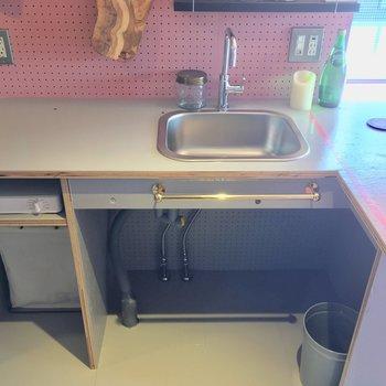 キッチンはL字!置型のIH一口コンロもありますよん
