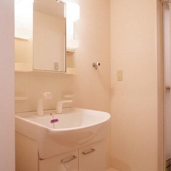 脱衣所には独立洗面台と洗濯機置場が。