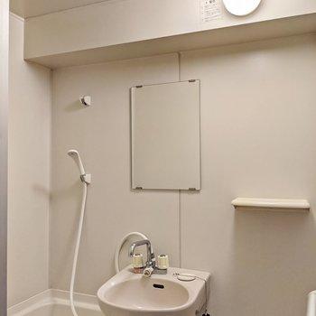 鏡と換気扇もあります。ひねる蛇口ですが、