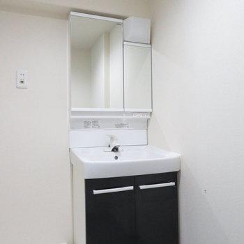 収納抜群の洗面台は二面鏡ですね