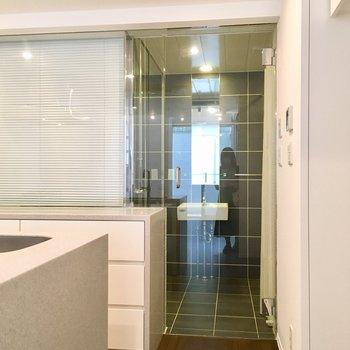 キッチン後ろ、透明のドアがサニタリー!
