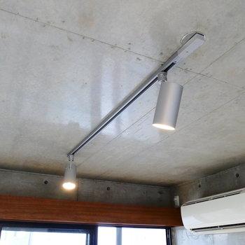 光を反射する天井から、レイティングレール。